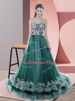 Flirting Sweetheart Sleeveless Prom Gown Sweep Train Beading Dark Green Tulle