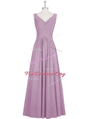Beautiful Sleeveless Chiffon Floor Length Zipper Evening Wear in Purple with Ruching