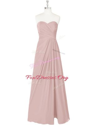 Ruching Evening Dress Pink Zipper Sleeveless Floor Length