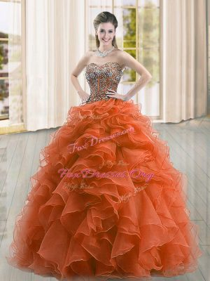 Rust Red Organza Lace Up Sweetheart Sleeveless Floor Length Quinceanera Gowns Beading and Ruffles