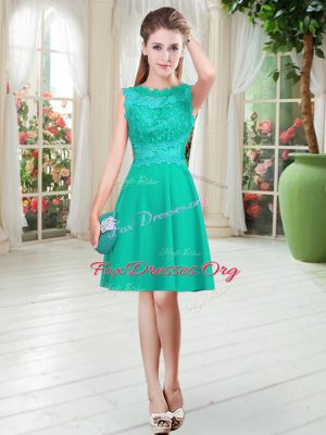 Turquoise Empire Lace Dress for Prom Zipper Satin Sleeveless Knee Length