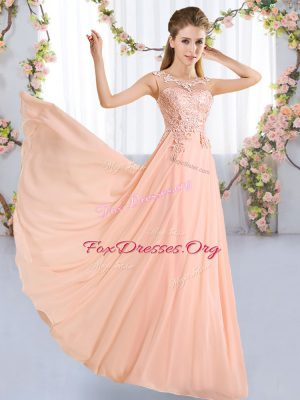 Beauteous Chiffon Sleeveless Floor Length Quinceanera Court Dresses and Lace