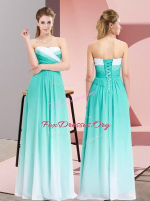 Floor Length Lace Up Juniors Evening Dress Turquoise for Prom and Party with Ruching