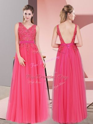 Inexpensive V-neck Sleeveless Evening Dress Floor Length Lace Hot Pink Tulle