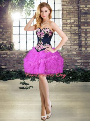 Custom Fit Purple A-line Sweetheart Sleeveless Embroidery and Ruffles Mini Length Lace Up Evening Dress