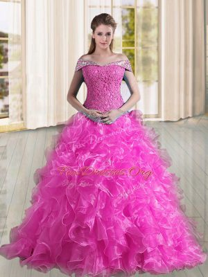 Fuchsia A-line Organza Off The Shoulder Sleeveless Beading and Lace and Ruffles Lace Up Quinceanera Gown Sweep Train