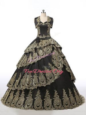 Flare Black Sleeveless Embroidery Floor Length Quinceanera Dresses