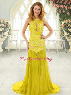Sleeveless Brush Train Backless Lace Dress for Prom