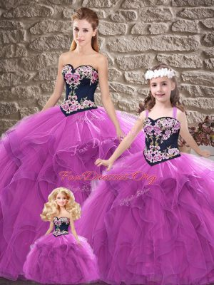 Perfect Purple Quinceanera Dress Sweet 16 and Quinceanera with Beading and Embroidery Sweetheart Sleeveless Lace Up