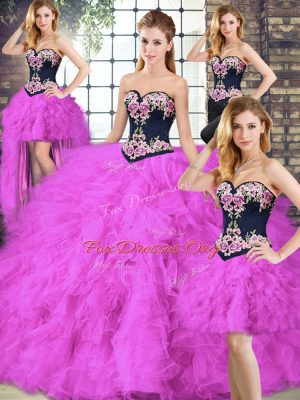 Sleeveless Floor Length Beading and Embroidery Lace Up Sweet 16 Dress with Fuchsia