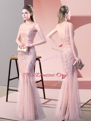 Romantic Pink Backless Sequins Sleeveless Floor Length