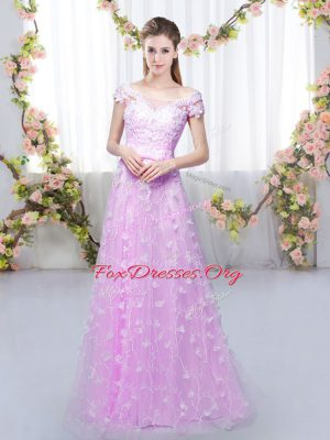 Empire Quinceanera Court of Honor Dress Lilac Off The Shoulder Tulle Cap Sleeves Floor Length Lace Up
