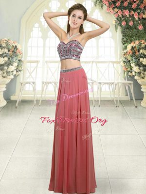 Fancy Chiffon Sleeveless Floor Length Dress for Prom and Beading
