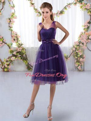 Exceptional Tulle V-neck Sleeveless Zipper Appliques Quinceanera Court Dresses in Purple