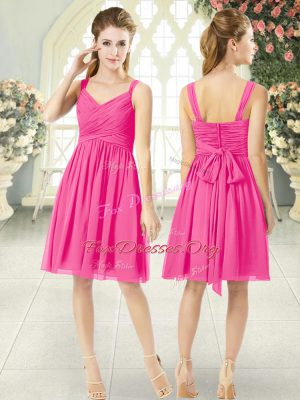 Fashion Hot Pink Straps Zipper Ruching Prom Dress Sleeveless