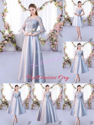 Elegant A-line Bridesmaids Dress Silver Scoop Satin 3 4 Length Sleeve Floor Length Lace Up