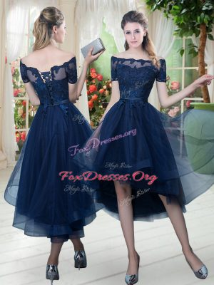 Pretty Navy Blue Prom Dresses Prom and Party with Lace Off The Shoulder Short Sleeves Lace Up
