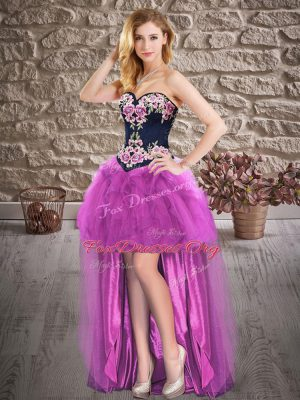 Purple Evening Dress Prom and Party with Embroidery Sweetheart Sleeveless Lace Up