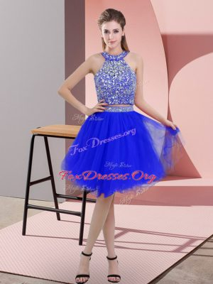 Royal Blue Sleeveless Beading Knee Length Prom Evening Gown