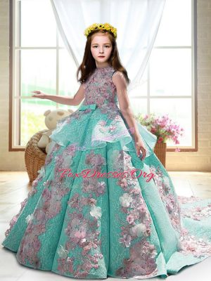 Attractive High-neck Sleeveless Court Train Backless Child Pageant Dress Turquoise Satin