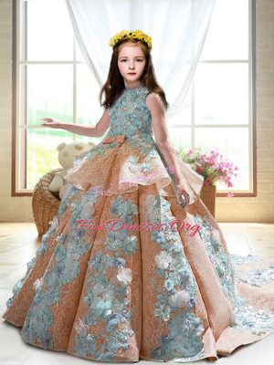 Admirable Peach Sleeveless Satin Court Train Backless Kids Formal Wear for Wedding Party