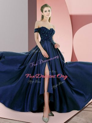 Navy Blue Sleeveless Elastic Woven Satin Sweep Train Backless Evening Dress for Prom and Party and Military Ball