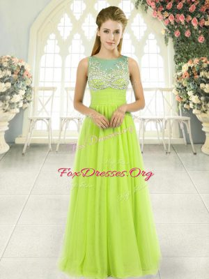 Dramatic Yellow Green Tulle Side Zipper Scoop Sleeveless Floor Length Prom Dresses Beading