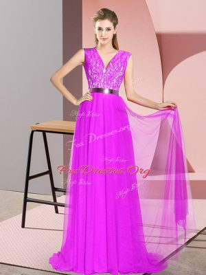 Hot Sale Purple Sleeveless Beading and Lace Zipper Prom Dress