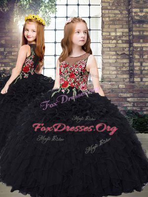 Sleeveless Organza Floor Length Zipper Little Girl Pageant Dress in Black with Embroidery and Ruffles