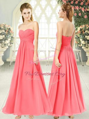 Watermelon Red Sleeveless Ruching Ankle Length Evening Gowns