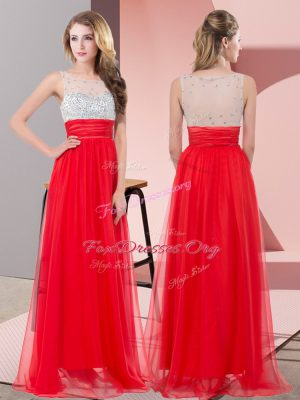 Perfect Red Chiffon Side Zipper Scoop Sleeveless Floor Length Formal Evening Gowns Sequins
