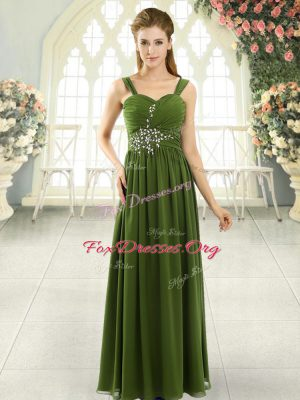 Spaghetti Straps Sleeveless Chiffon Prom Gown Beading and Ruching Lace Up