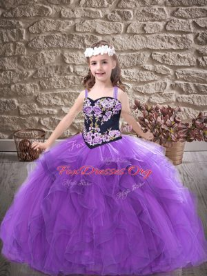 Purple Lace Up Kids Formal Wear Embroidery and Ruffles Sleeveless Floor Length
