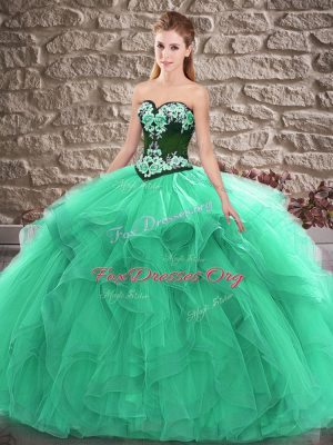 Romantic Floor Length Turquoise Sweet 16 Dresses Sweetheart Sleeveless Lace Up