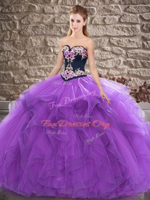 Purple Tulle Lace Up Sweetheart Sleeveless Floor Length Sweet 16 Dress Beading and Embroidery