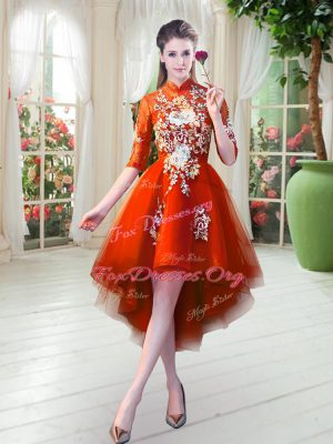 Tulle High-neck Half Sleeves Zipper Appliques Evening Dress in Orange Red