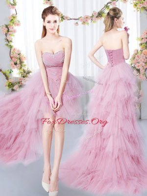 Tulle Sweetheart Sleeveless Lace Up Beading and Ruffles Wedding Party Dress in Pink