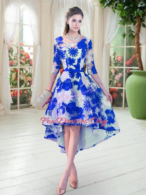 Dazzling Scoop Half Sleeves Lace Prom Dress Belt Lace Up