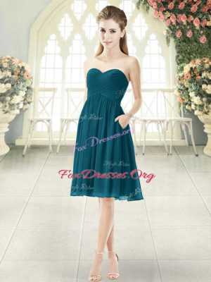 Ruching Prom Dress Peacock Green Zipper Sleeveless Knee Length