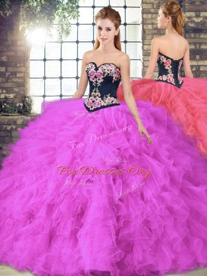 Hot Sale Sleeveless Beading and Embroidery Lace Up Quinceanera Gowns