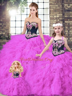 Floor Length Fuchsia Quinceanera Dress Tulle Sleeveless Beading and Embroidery