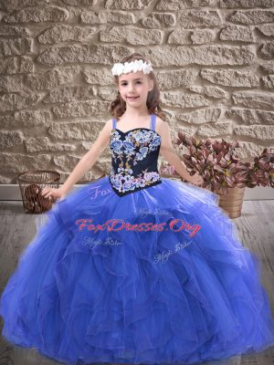 Straps Sleeveless Lace Up Little Girls Pageant Gowns Royal Blue Tulle