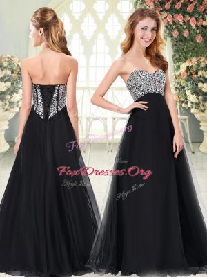 Perfect A-line Black Sweetheart Tulle Sleeveless Floor Length Lace Up