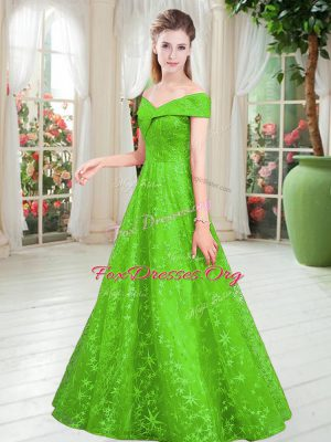 Off The Shoulder Sleeveless Prom Dress Floor Length Beading Lace