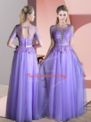 Exceptional Floor Length Lavender Prom Dress Tulle Short Sleeves Beading and Lace