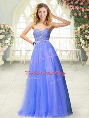 Unique Blue Going Out Dresses Prom and Party with Beading Sweetheart Sleeveless Zipper