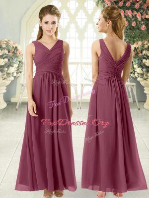 Sleeveless Chiffon Ankle Length Zipper Evening Dress in Burgundy with Ruching