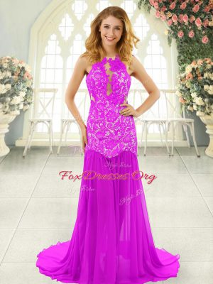 Deluxe Pink Chiffon Backless Scoop Sleeveless Prom Dresses Brush Train Lace