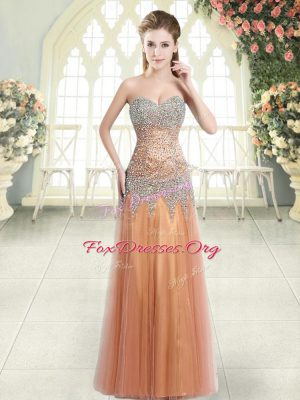 New Style Orange Sleeveless Tulle Zipper Evening Dress for Prom and Party