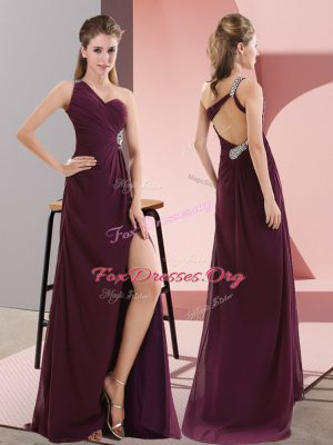 Satin One Shoulder Sleeveless Sweep Train Backless Beading and Lace Homecoming Dress in Dark Purple